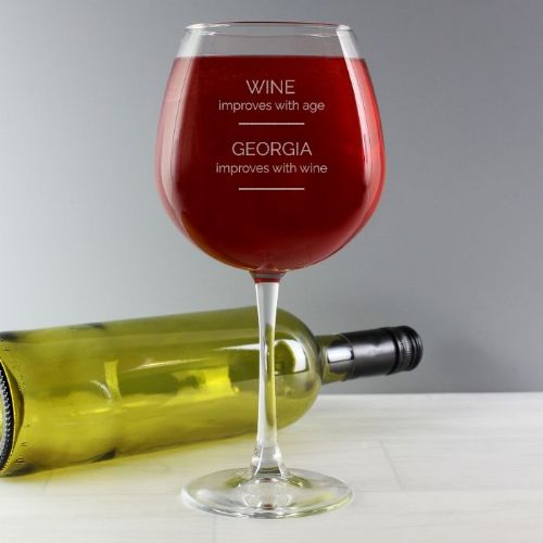 'Wine Improves with Age' Bottle of Wine Glass